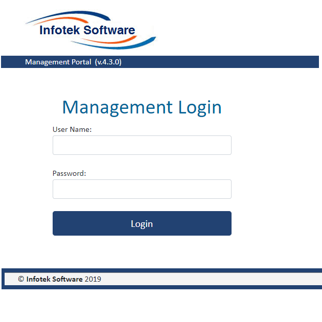 Management login allows system configuration, and tracking all jobs